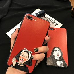 Wholesale Tea Iphone Case - For Iphone 6s Phone Cases Personality Red Drink Tea Girl Full Package Soft Shell Silicone Cell Phone Case For Iphone 7 6 Plus
