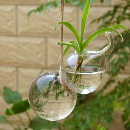 Piante di zucca online-Set di 2 vasi in vetro a forma di zucca appesa fioriera vaso contenitore terrario per decorazione domestica Cafe
