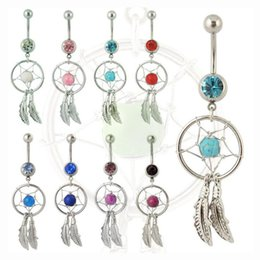Wholesale Navel Rings Body Piercing - Dreamcatcher Belly Button Ring Colorful Rhinestone Navel Belly Rings with Alloy Feather Body Piercing Women Girls Summer Jewelry