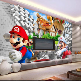 Wholesale Mario Bedroom - Cartoon Large Mural 3D Super Mario Wallpaper Mario Brothers Theme Pack Room Children's Room Amusement Park Wallpaper
