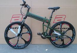 Wholesale Aluminum Alloy Bike Frames - 26 inch aluminium folding bike frame mountain bicycle 21 speed disc brakes tall man MTB bike 4 color choose free shipping