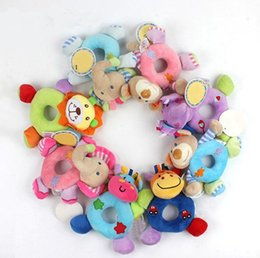 Wholesale hand ring girls - Newborn Cute Cotton Baby Boy Girl Rattles Infant Animal Hand Bell Kids Plush Toy Development Gifts Rings Toddler Toys