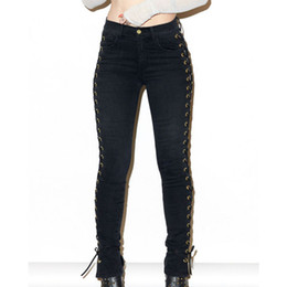 Wholesale Lace Skinny Jeans - Wholesale- 2017 New Fashion Hip Fop Women Side Lace Up Pencil Black Tight Pants Sexy Cross Bandage Trousers Skinny Jeans Slim Pocket Pants