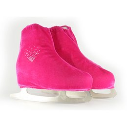 Wholesale Adult Ice Skating - Wholesale- 24 Colors Child Adult Velvet Ice Figure Skating Shoes Cover Roller Skate Fabric Accessories Rose Red Snow V Shape Rhinestone