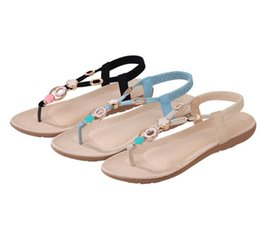 Wholesale Sew Button Beads - Woman Sandals Shoes Women Flats Summer Casual Fashion Concise Solid Shoes Bohemian Style Beach Slip On String Bead Lady Rubber Women Shoes