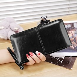 Wholesale Function Notes - Women Oil Wax Leather Wallet Female Zipper Wallets Long Design Day Clutch Lady Cash Purse Female Multi-function Phone Bag