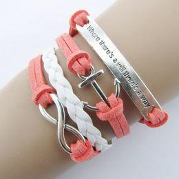 Wholesale Infinity Rudder Anchor Charm Bracelets - Wholesale- ExquisiteNautical Rudder Anchor Bracelet Infinity Handmade Coffee Leather Rope
