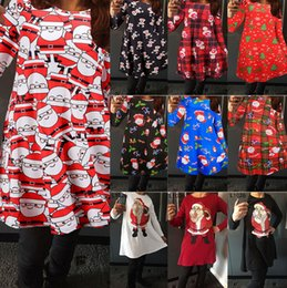 Wholesale Wholesale Lattice Panels - Trendy Women Red Lattice Christmas Long Sleeve Printed printed cartoon flounce Cotton Deer Printed Dress New - Free Shipping + Free Gift