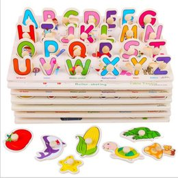 Wholesale Baby Jigsaw - Kid Early education toys baby hand grasp wooden puzzle toy alphabet digit shape learning child wood jigsaw toys YYA258