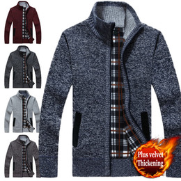 Wholesale Knit Sweaters For Winter Mens - Mens sweaters Long Sleeve Casual cardigan thick sweater knitting sweater jacket outerwear coat winter for mans turtleneck men wear