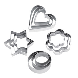 Wholesale Star Cutter Cookies - Wholesale- Hot 12pcs Stainless Steel Cookie Biscuit DIY Mold Star Heart Cutter Baking Mould New