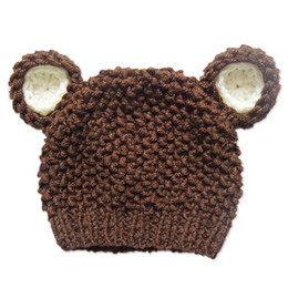 Wholesale Teddy Bear Girl Boy - Lovely Brown Teddy Bear Hat,Handmade Knit Crochet Baby Girl Boy Animal Hat,Winter Beanie Cap,Infant Toddler Photo Prop Shower Gift