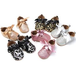Wholesale Kid Sequin Ties - 2017 New Sequins Leopars Prewalker Soft Sole Moccasins Newborn Cartoon Kids First Walker Shoes Baby Toddler Sports Boys&Girls Shoes