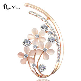 Wholesale Luxury Opal Jewelry - 2017 New Luxury Opal Flower Brooches for Women Fashion CZ Diamond Broches Jewelry Gold Brooches Lapel Pin Collar Accessories