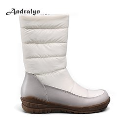 Wholesale Snow Rubber Shoes Sole - Andralyn women's shoes down zipper round toe mid-calf boots high quality rubber sole platform winter plush snow boots