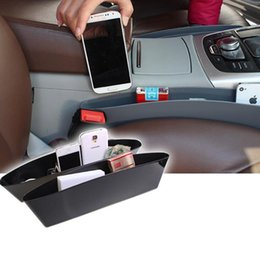 Wholesale Cars Caddy - Pair of 2 Car Seat Side Pocket Caddy Car Seat Slit Pocket Catcher Organizer For vehicle-mounted mobile phone box sundry receive bag