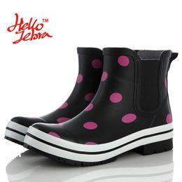 Wholesale Dot Rain Boots Women - Women Ankle Polka Dot Rain Boots Lady Low Heels Elatic Band Waterproof Welly Buckle Nubuck Rainboots 2016 New Fashion Design Water Shoes