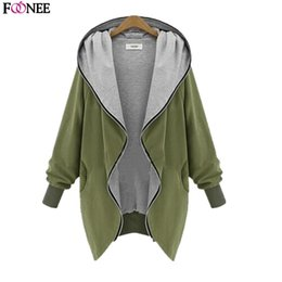 Wholesale Women Coat Size Large - Wholesale-European and American Autumn Women Cardigans Sizes large Zipper Hooded Jacket Winter Long Women Coats and Cardigan Jackets