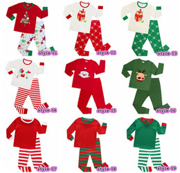 Wholesale Kids Christmas Pyjamas Wholesale - 2017 Xmas Kids Family Matching Christmas Deer Moose Striped Pajamas Sleepwear Nightwear Pyjamas bedgown sleepcoat nighty 9colors choose free