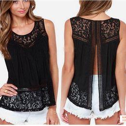 Wholesale Lady Clothes Wholesale - Fashion Ladies Lace Tank Tops Sleeveless T-shirts Vest Summer Blouse Tees Back Split Black White Blouses Womens Clothing Apparel Plus Size