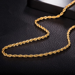 Wholesale China Gold Necklace Designs - Simple Design 60CM 46CM 3MM Men's Necklace Chain 18K Yellow Gold Plated Twist Chain Necklace for Women Men Jewelry Necklace