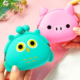 Wholesale Jelly Hobo Bags - Wholesale- Candy Color Cartoon Animal Women Girls Wallet Multicolor Jelly Silicone Coin Bag Purse