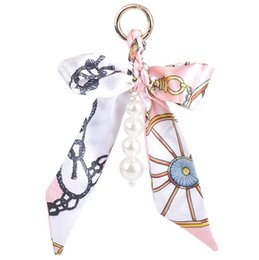Wholesale Metal Charm Scarf - Fashion Accessories Scarves Key holder Bowknot Exquisite Decoration Tassels Keychains Women Bag Charm Keychains Jewelry Pendant