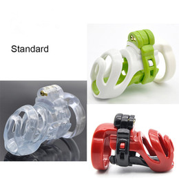 Wholesale Locking Belt Bondage - New 3D Design Resin Standard Male Chastity Device Penis Lock Adult Bondage Cock Cage With 4 Size Penis Rings Chastity Belt Sex Toy For Men