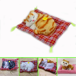 Wholesale Kids Sleeping Mats Wholesale - 100pcs lot Lovely Simulation Animal Doll Plush Sleeping Cats Toy with Sound Kids Toy Birthday Gift Doll Stuffed Toys Cat Mat