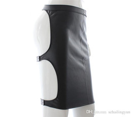 Wholesale Sexy Leather Lingerie Sm - SM Hot Sexy Female Faux Leather Slave Spanking Skirt Open Hip Tight Fit Bondage Fetish Lingerie Mini Dress