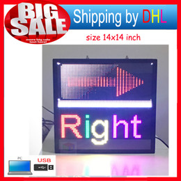 "Wholesale Led Display Panel Board - Free shipping 14""x 14"" Programmable LED Scrolling Message Display Sign led panel Indoor Board P5 full color"