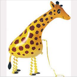Wholesale Childrens Wedding - Cartoon 50pcs Walking Balloons Pet Giraffe Animal Balloons Helium Balloons Wedding Party Celebration Childrens Gift Toy