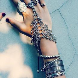 Wholesale Boho Vintage Bracelet - Vintage tribal chic turkish alloy silver Plated floral design boho bracelet Cuff Coin Bracelets Retro Layered Tassels Rings Bangle Jewelry