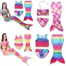 Wholesale Kids Bikini Outfits - Cute Girls Mermaid Swimsuits Childrens Clothing Sets Girl Kids Clothes Mermaid Swimwear Bikini 3pcs Outfits Beach Mermaid Swimming Costumes
