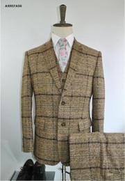 Wholesale Men S Suits Plaid - Custom made check woolen turmeric windowpane check plaid men suit Youth men casual suit 3 piece(jacket+pants+vest)