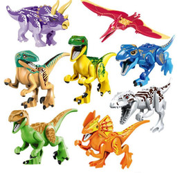 Wholesale Dinosaur Action - 8pcs Jurassic World Dinosaur Building Blocks Sets Model Minifigures Jurassic Park Bricks Toys educational toys Action Figures