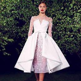 Wholesale Tea Lenght Black Dress - Elegant White Tea Lenght Short Evening Dresses With Detachable Skirt Sheer Jewel Long Sleeves Graceful Appliqued Evening Gowns