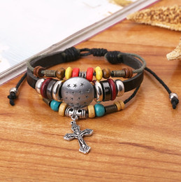 Wholesale Love Jesus Jewelry Free - Explosion, Cross Personality Bracelet, Leather Bracelet, New Style Jewelry Cross, I Love Jesus Church Gift, Church Gift Free Delivery