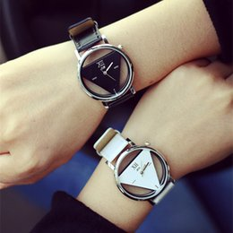 Wholesale Triangle Men Watches - Fashion Men Women Wristwatches PU strap Triangle Hollow Glass Alloy Dial Quartz Analog Watch Lover Gifts
