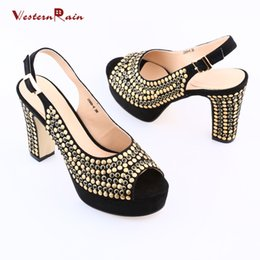 Wholesale Sequin Ladies High Heels - 2017 Black Red Sapato Feminino Heels Shoes Hot Sale Italian Party Shoe With Alloy Sequins Lady Sandal Direct Selling