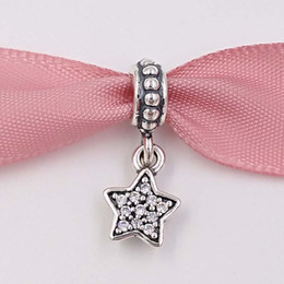 Wholesale Sterling Silver Pendant Cross - Genuine S925 Sterling Silver Beads Star Pave Dangle Charm Fit European Brand ALE Style Bracelets & Necklace Pendants Jewelry