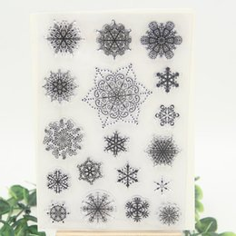 Wholesale Wholesale Paper Snowflake Decorations - Wholesale- 1 sheet DIY Snowflake Design Transparent Clear Rubber Stamp Seal Paper Craft Scrapbooking Decoration
