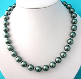 Wholesale Black Pearl Shell Shape - 10mm Black Color Round Shape Sea Shell Pearl Bead Necklace