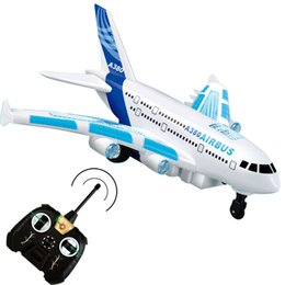 Wholesale Rc Plane Ready Fly - Wholesale-Airbus A380 aircraft model Sound Light RC plane remote control shuttle airplane can't fly