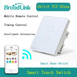 Wholesale Touch Wall Switch Wireless - Wholesale-New EU US UK Wifi Broadlink TC2 2Gang Wireless Remote Control Tempered Glass Touch Wall Light Switch 100V-240V Smart Home