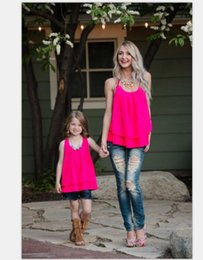 Wholesale Mom Vest - Family Matching Outfits mother daughter solid T shirt falbala Vest Summer 2017 Casual Dress mom and Girls Vest