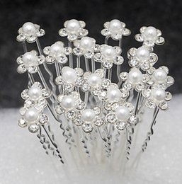Wholesale Bridal Hair Pins Flowers - 20 Pieces Free Delivery Wedding Accessories Bridal Pearl Hairpins Flower Crystal Rhinestone Hair Pins Clips Bridesmaid Women Hair Jewelry
