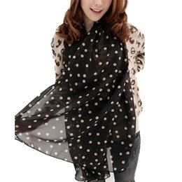 stole girl Promo Codes - Wholesale- 2016 New Stylish Cheap Female Cardigan Stole Girl Long Soft Silk Chiffon Scarf Wrap Polka Dot Shawl Scarve For Women