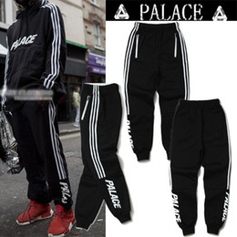 Wholesale Retro Blends - Europe and the United States Retro Classic Three Bar PALACE Letter Hair Material Casual Pants Sportwear Triangle Casual Pants