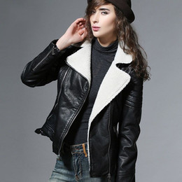 Wholesale Led Leather Jacket - 2016 New Pu Leather Lamb wool fur coat winter jacket Women Short Lamb coat Lead Locomotive coats fourrure manteau femme hiver